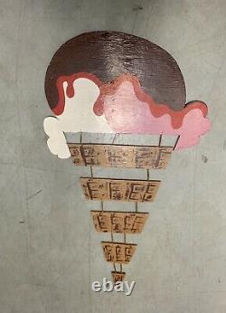 Wonderful Large Vintage Wood Ice Cream Store Trade Sign Original Paint