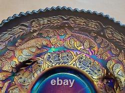 Wow Fenton Carnival Glass Blue Little Fishes Large Ice Cream Bowl Great Color