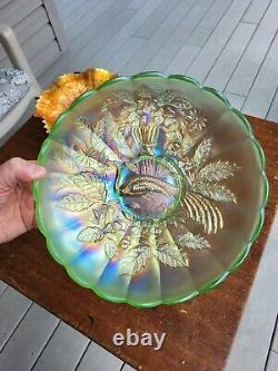 Wow Ice Green Northwood Carnival Glass Peacock & Urn Large Ice Cream Bowl